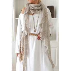 Linen scarf knitted beige